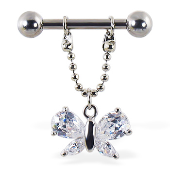 Nipple ring with dangling jeweled butterfly, 12 ga or 14 ga