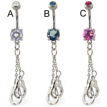 Belly Ring With Dangling Locked Hand Cuffs