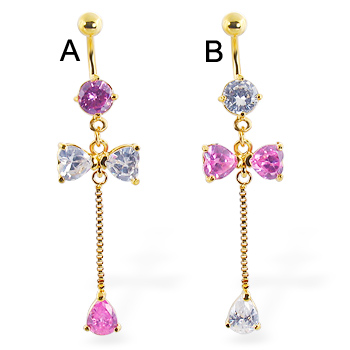 Belly ring with a large dangling bow and gem