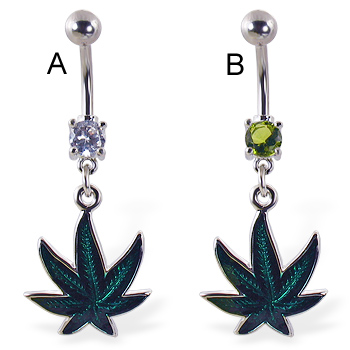 Belly ring with dangling holographic pot leaf