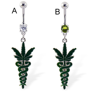 Belly ring with dangling medical snakes and pot leaf