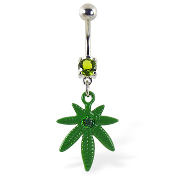 Belly ring with dangling green pot leaf with gem