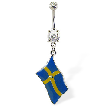 Belly ring with dangling Swedish flag