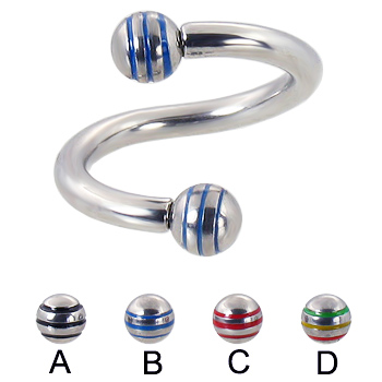 Twister barbell with epoxy striped balls, 10 ga