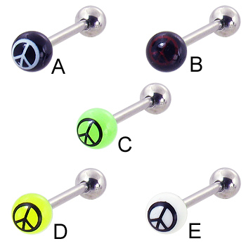 Straight barbell with peace sign logo, 14 ga