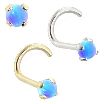 14K Gold Nose Screw with 2mm Round Blue Opal