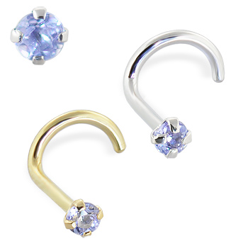 14K Gold Nose Screw with Tanzanite, 20 Ga