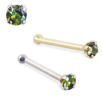 14K Gold Nose Bone with Green Tourmaline, 22 Ga