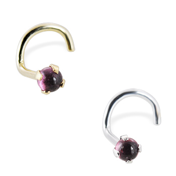 14K Gold Nose Screw with 2mm Round Cabochon Garnet