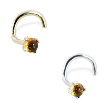 14K Gold Nose Screw with 2mm Round Cabochon Citrine