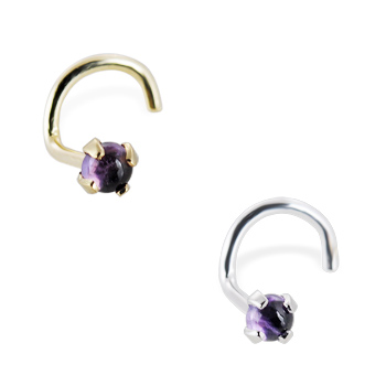 14K Gold Nose Screw with 2mm Round Cabochon Amethyst