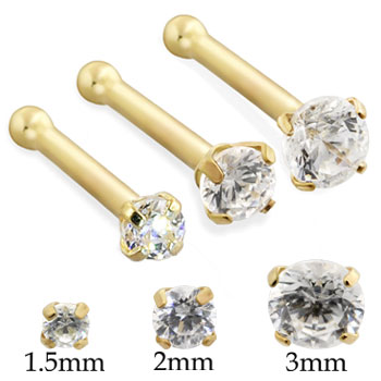 14K Gold Nose Bone with Round CZ