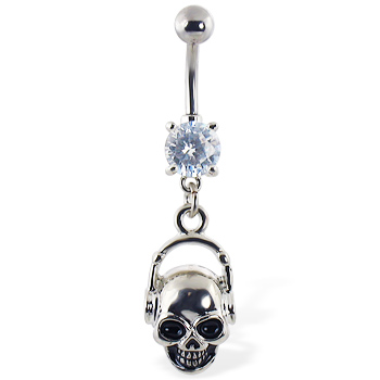 Navel ring with dangling skull with headphones