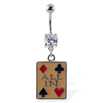 "Gambling navel ring with suits and ""ALL IN"""