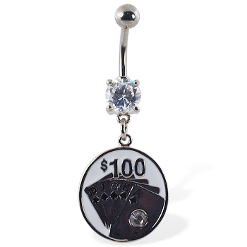 "Navel ring with dangling circle with cards and ""$100"""