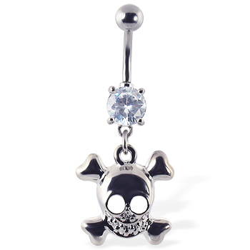 Navel ring with dangling smiling skull