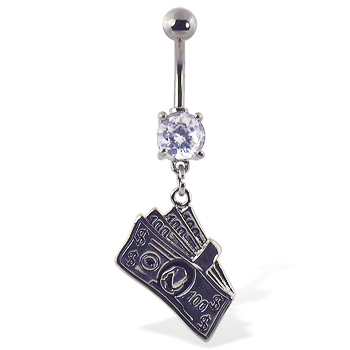 Navel ring with dangling 100 dollar bills