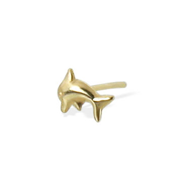 9K yellow gold dolphin nose stud, 22 ga