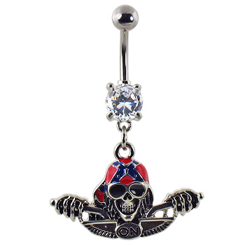 Navel ring with dangling skull with bandana on bike