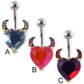 Navel ring with heart and devil horns