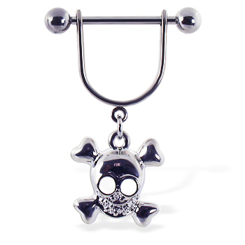 Nipple ring with dangling happy skull