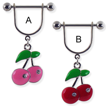 Nipple ring with dangling cherries with gems
