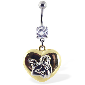 Navel Ring with Dangling Yellow Heart with Angel