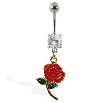 Navel ring with dangling colored rose