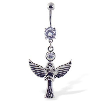 Navel Ring with Dangling Angel