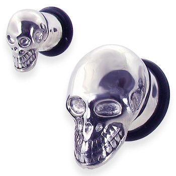 Pair Of Skull Head Stainless Steel Plugs