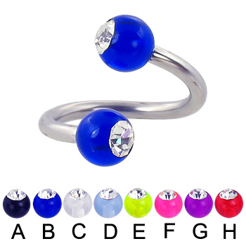 Acrylic ball with stone spiral barbell, 12 ga
