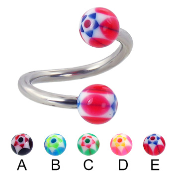 Twisted barbell with acrylic star balls, 12 ga