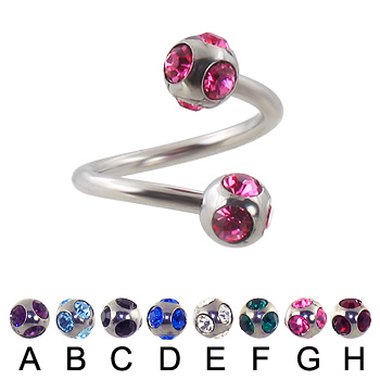 multi gem ball spiral barbell, 14 ga