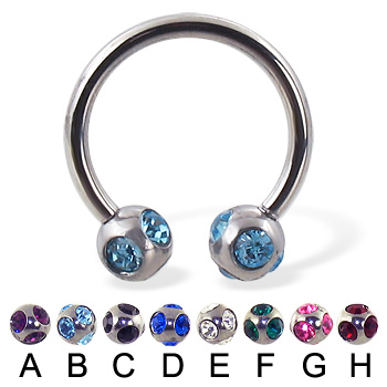 multi gem ball circular barbell, 14 ga