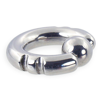 Fancy 2 notch captive bead ring, 4 ga