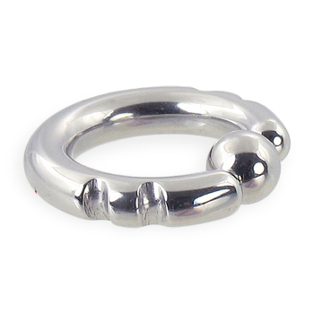 Fancy 2 notch captive bead ring, 6 ga