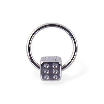 Captive bead ring with dice ball, 16 ga