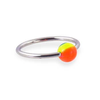 Captive bead ring with rainbow ball, 16ga