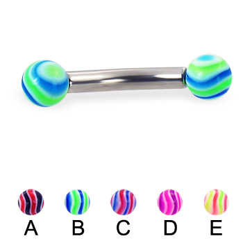 Wave ball curved barbell, 10 ga