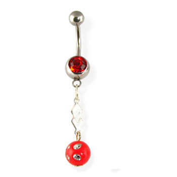 Belly button ring with dangling red ball with gems