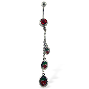 Belly button ring with dangling strawberries