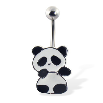 Panda belly ring with movable body