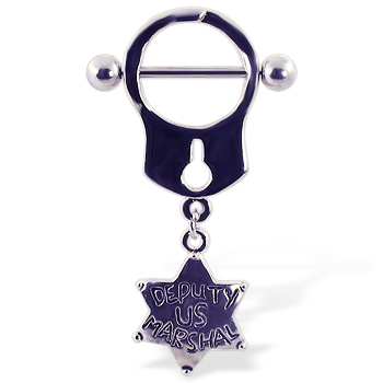 "Handcuff Nipple Ring with Dangling Star ""Deputy US Marshal"""