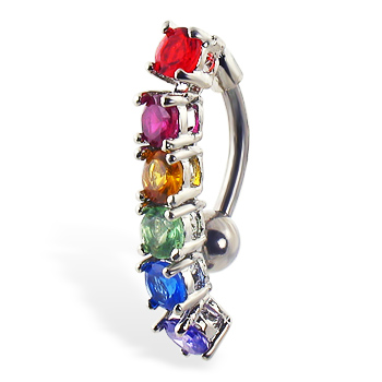 Reversed belly ring with dangling rainbow stones