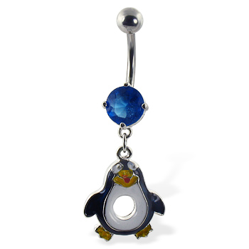 Belly Ring with dangling penguin
