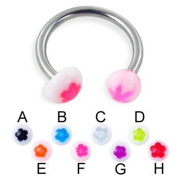 Flower ball and half ball circular barbell, 14 ga