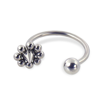 Ball and flower cone circular barbell, 16 ga