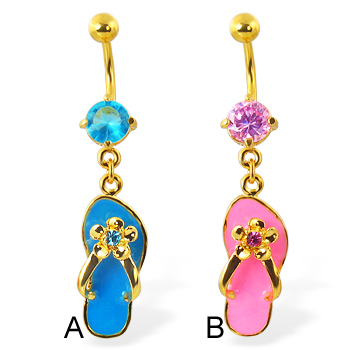 Gold Tone belly ring with dangling flip-flop