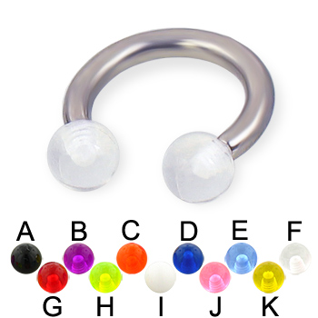 UV ball titanium circular barbell, 10 ga