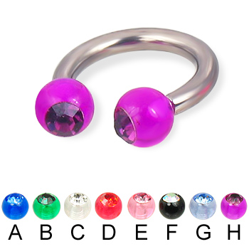 Acrylic jeweled ball titanium circular barbell, 10 ga